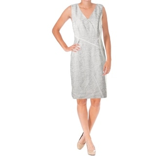 Lafayette 148 Womens Kiersten Pattern V-Neck Wear to Work Dress