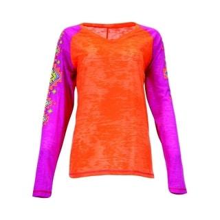 Cowgirl Tuff Western Shirt Women Long Sleeve Burnout Tee Orange 100098
