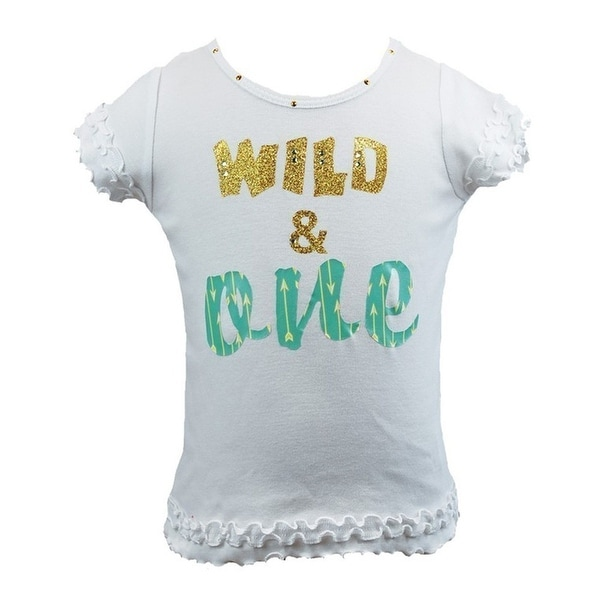 Shop Reflectionz Little Girls White Mint Wild Rhinestuds Cursive Birthday Shirt 2