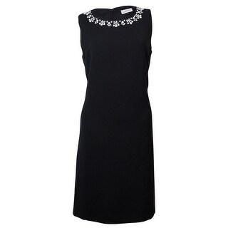 Tahari Women's Sleeveless Embellished Scoop Sheath Dress