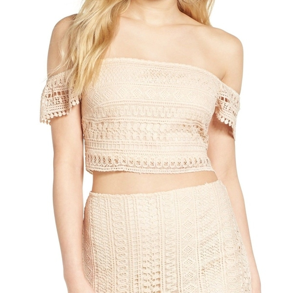 Leith Women's Large Crochet Lace Off-Shoulder Crop Top