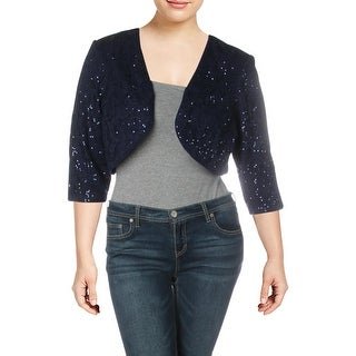 R&M Richards Womens Plus Bolero Lace Sequined - Navy - 16W