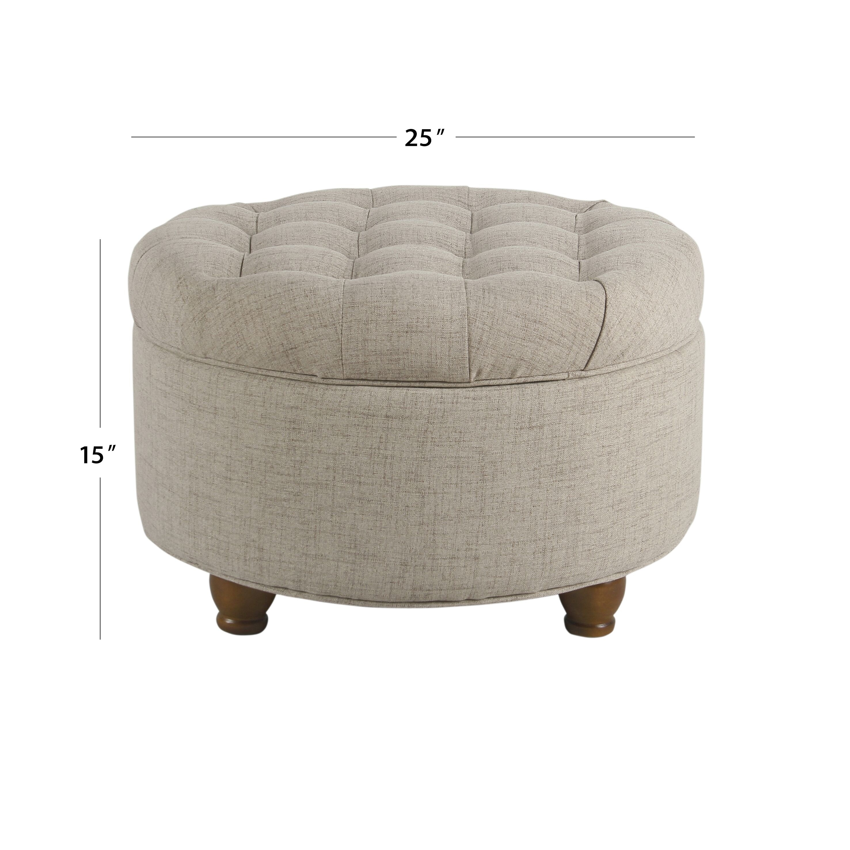 Copper Grove Lamentin Light Tan Tufted Large Round Storage Ottoman On Sale Overstock 21892091