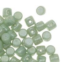 Czech Glass Minos par Puca, Cylindrical Beads 2.5x3mm, 120 Pieces, Opaque Light Green Luster