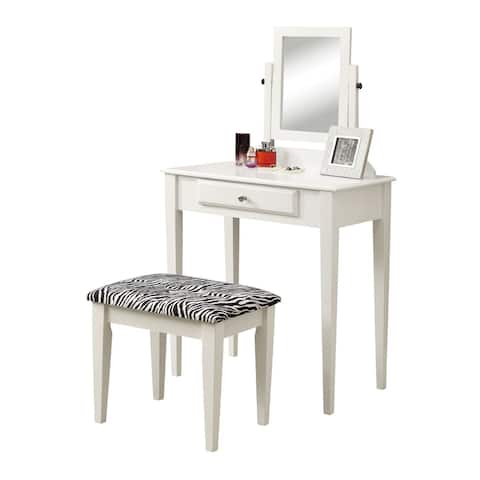 2-Piece White and Black Contemporary Vanity Set 50.5 inch