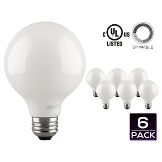 LED Dimmable G25 Globe Filament Light Bulb, 5W (60W Equivalent) Decorative Frosted Milky Glass Light Bulb, UL-listed, 2700K