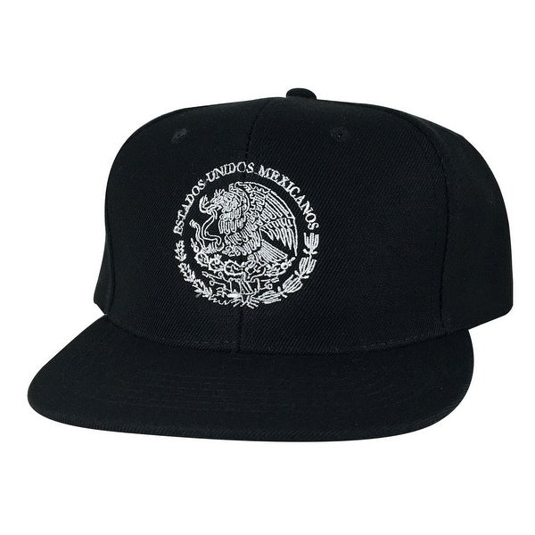 48c5a384194b8 Shop Mexico Seal Flag Flat Bill Snapback Hat Cap by Caprobot - Black White  - Free Shipping On Orders Over  45 - Overstock.com - 13469205