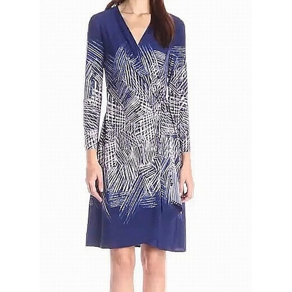 079c051f811e Shop BCBG Max Azria Blue Women s Size Small S Printed Wrap Dress - Free  Shipping Today - Overstock - 27299270