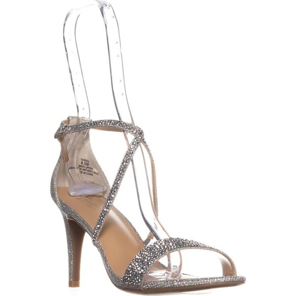 TS35 Darria Cross Strap Evening Sandals, Pewter