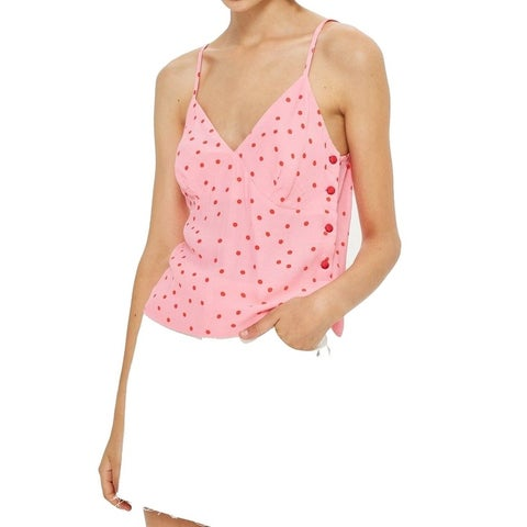 TopShop Pink Womens Size 8 Polka-Dot Print Button-Detail Cami Top