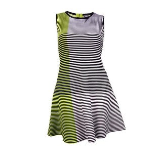 Vince Camuto Women's Colorblocked Striped Knit Sweater Dress (L, Lime) - Lime