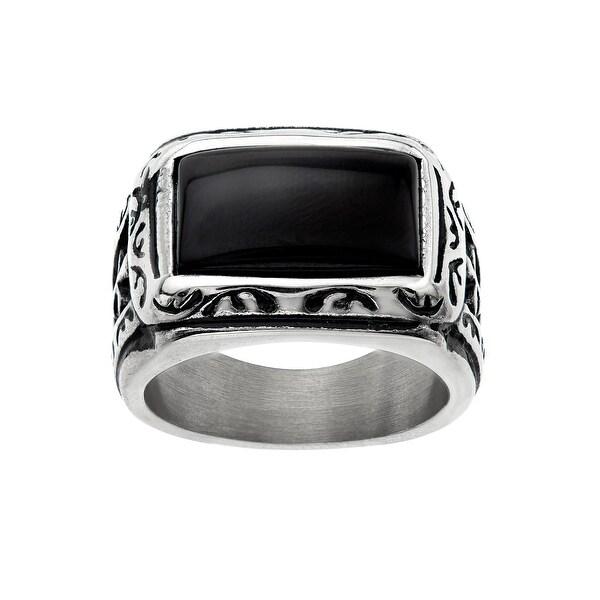 Men's Onyx & Cross Gothic Ring in Stainless Steel - Black