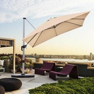 10 Ft 360 Degree Tilt Aluminum Square Patio Offset Cantilever Umbrella, Cross base Only (Beige)