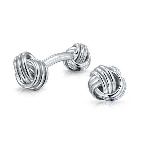 Solid Double Knot Sided Woven Braided Twist French Style Fixed Backing Shirt Cufflinks For Men 925 Sterling Silver