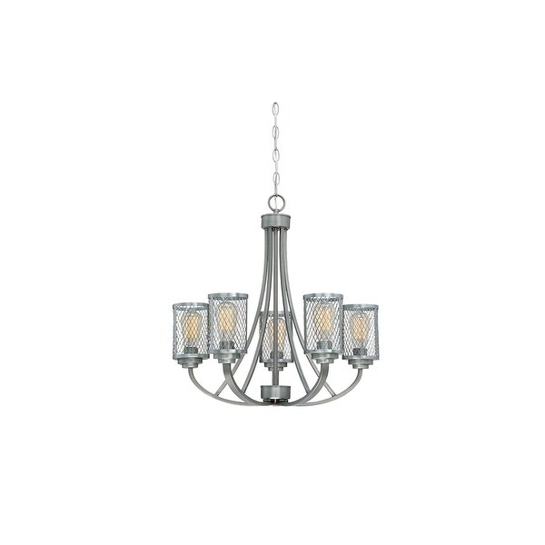 "Millennium Lighting 3265 Akron 5 Light 26"" Wide Chandelier with Mesh Style Metal Cylinder Shades"