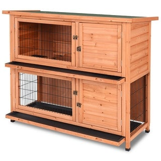 Gymax 48'' Wooden Outdoor Rabbit House Hutch Bunny Pig Small Animal Pet w/ Ladder