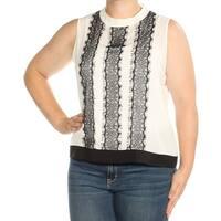 CALVIN KLEIN Womens Ivory Lace Sleeveless Jewel Neck Top Petites  Size: XL