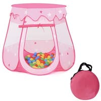 Costway Kids Princess Play Tent Playhouse Tent Toddler Toys In/Outdoor w 100 Ocean Balls - Pink