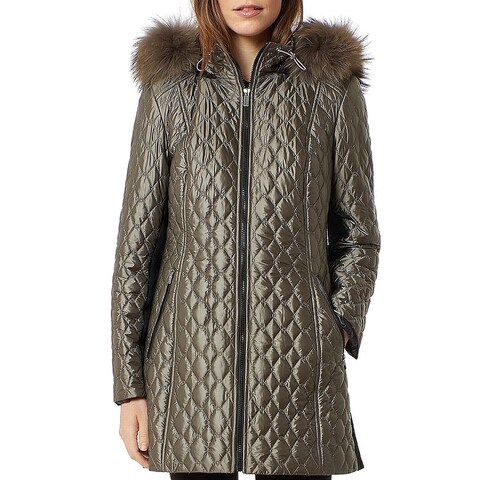 One Madison Green Womens Size Small S Diamond Quilted Faux Fur Coat