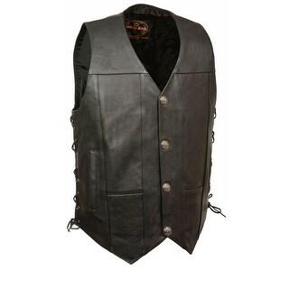 Mens Leather Side Lace Buffalo Snap Vest