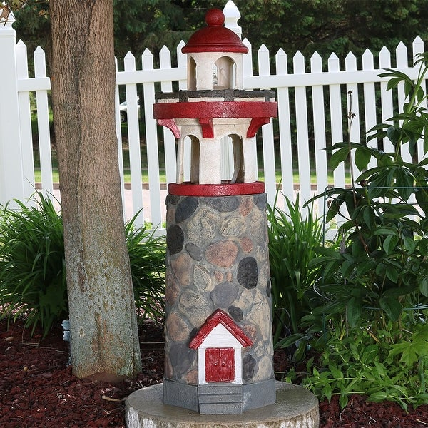Sunnydaze Classic Stonework Lighthouse Outdoor Water Fountain with LED - 38-Inch