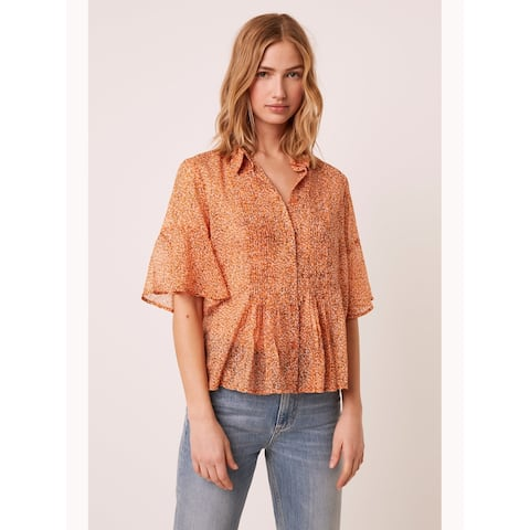 FRENCH CONNECTION Orange 3/4 Sleeve Blouse Top 4