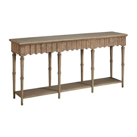 Wavelet 74-inch Scalloped Apron Console with Three Hidden Drawers