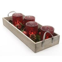 7-Piece Set Country Cabin Red Glass Tea Light Candle Holders and Tray Christmas Decoration 17.75""