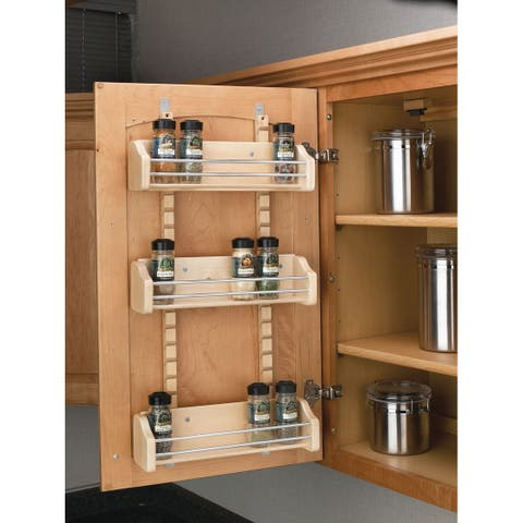 "Rev-A-Shelf 4ASR-18 4ASR Series Adjustable Door Mount Spice Rack with 3 Shelves for 18"" Wall Cabinet - Natural Wood"