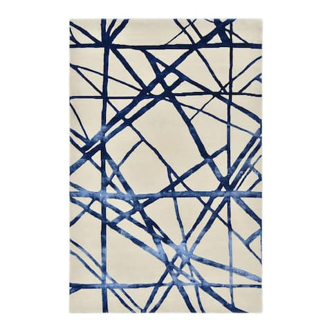 Aryan Contemporary Handmade Area Rug, Dark Blue