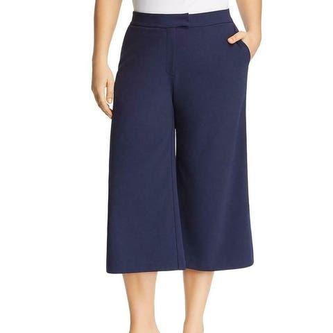 Michael Kors Womens Pants Blue Size 2X Plus Cropped Wide Leg Stretch