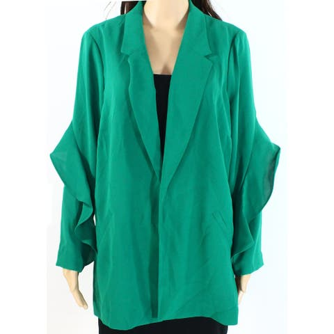 Alfani Women's Blazer Green Size Medium M Flounce Sleeve Notched Collar