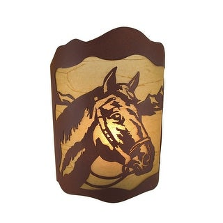 Horse in Reins Rustic Tin Wall Mounted Lamp