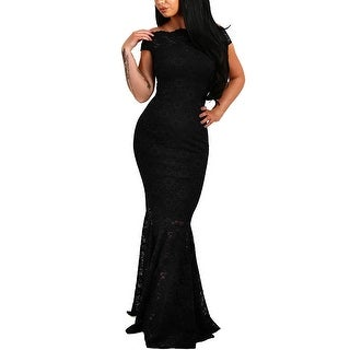 Elapsy Womens Sexy Elegant Off Shoulder Bardot Lace Evening, Black, Size Small