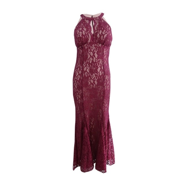 dc6b25d5a6fa Shop Nightway Women's Petite Lace Keyhole Halter Gown (4P, Merlot/Nude) -  Merlot/Nude - 4P - Free Shipping Today - Overstock - 25750443