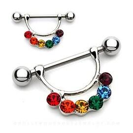 "Surgical Steel Rainbow Gay Pride Nipple Shield - 14GA 5/8"" Long (Sold Individually)"
