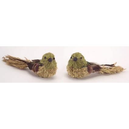 Pack of 12 Country Rustic Beige and Forest Green Pine Cone and Sisal Birds 2.5""