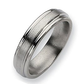 Chisel Brushed and Polished Grooved Titanium Ring (6.0 mm)