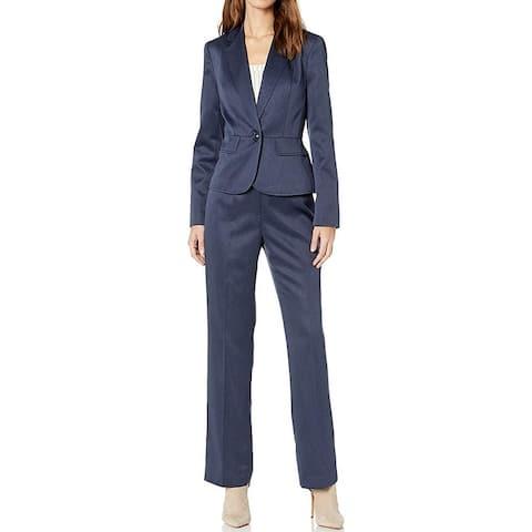 Le Suit Women's Suit Blue Size 10 One Button Melange Notch Collar