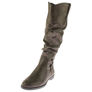 Easy Street Womens Vim Knee-High Boots Faux Leather Slouchy - 9.5 wide (c,d,w)