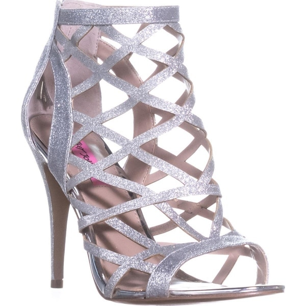 Betsey Johnson Juliette Strappy Ankle Booties, Silver - 11 us