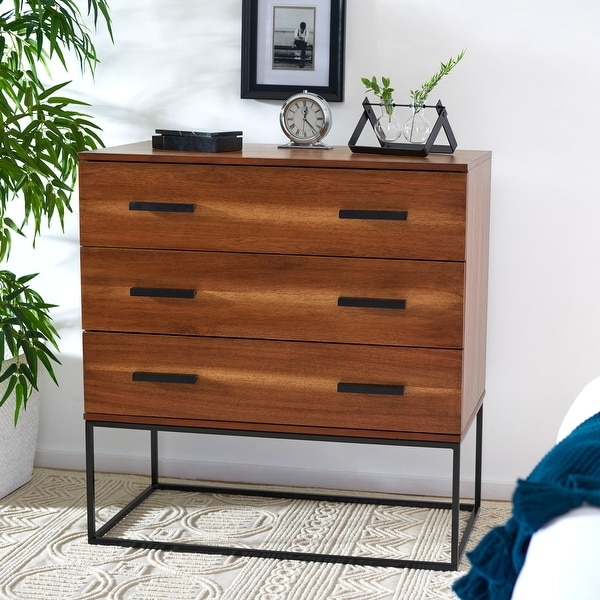 SAFAVIEH Marquise Brown 3-Drawer Chest. Opens flyout.