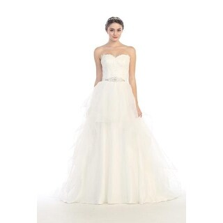 Strapless Embroidered Tulle A-Line