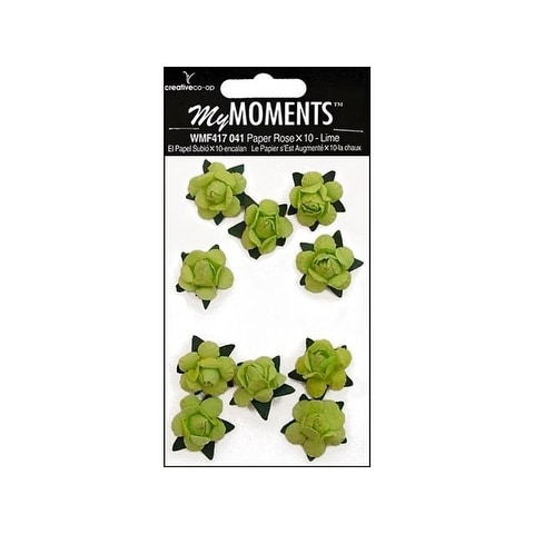 My Moments Embell Flowers Paper Mini Roses Lime