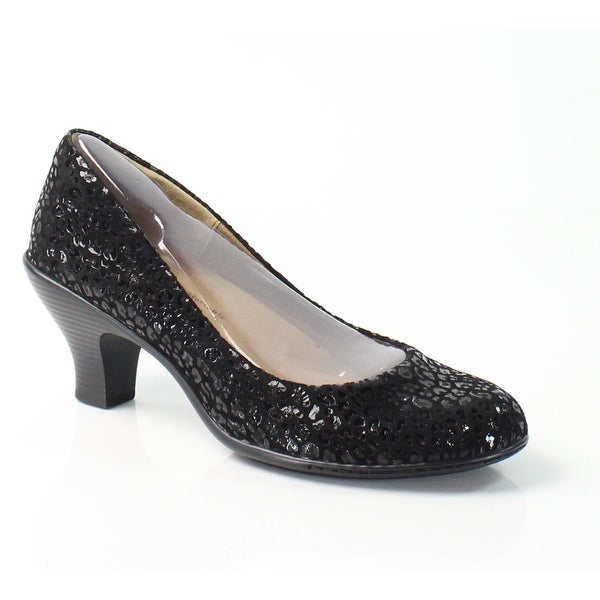 Softspots NEW Black Salude Shoes Size 8N Pumps Leather Heels