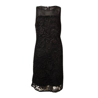 INC International Concepts Women's Illusion Lace Sheath Dress - Deep Black