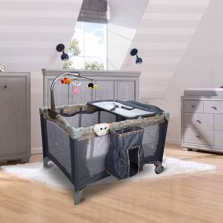 Costway Foldable Baby Crib Playpen Playard Pack Travel Infant Bassinet Bed Music Gray|https://ak1.ostkcdn.com/images/products/is/images/direct/bc7090a88764e9e2f50c514a9579ae6ca7686cac/Costway-Foldable-Baby-Crib-Playpen-Playard-Pack-Travel-Infant-Bassinet-Bed-Music-Gray.jpg?impolicy=medium
