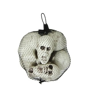 """Pack of 6 White and Gray Skeleton Skull Heads with Open Mouths Halloween Decorations 3.5"""""""