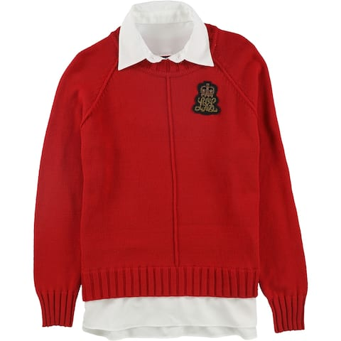Ralph Lauren Womens Bullion-Patch Laye, Red, Large