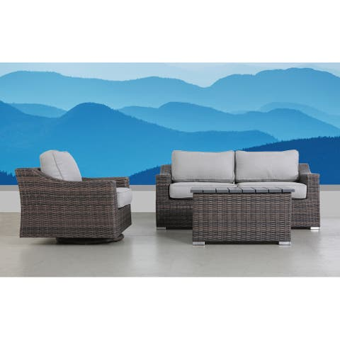 LSI Dayse Swivel Rocker 4 Piece Sectional Seating Group With Cushion